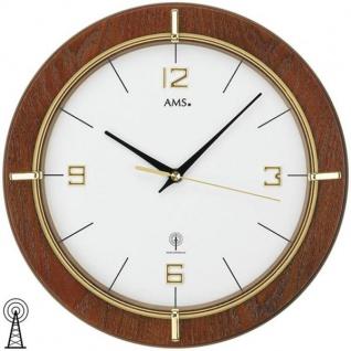 AMS 5832 Wanduhr Funk analog rund Holz nussbaum farben mit Glas