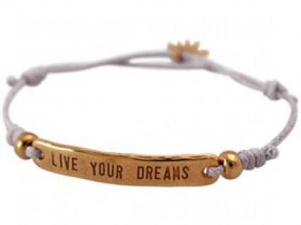 Damen Armband Gravur LIVE YOUR DREAMS Rose Vergoldet Hellgrau