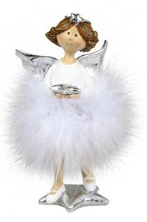 Weihnachts-Deko-Figur Engel mit Plüsch-Federn und Stern Schutzengel Weihnachtsengel Kunststein weiss silber 15cm Winter-Engel