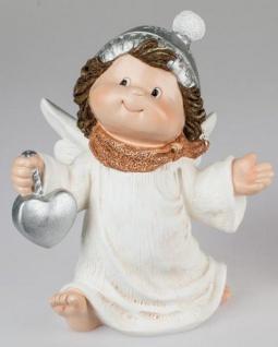 formano Engel Figur mit Herz in der Hand aus Kunststein, 35 cm