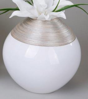 formano Kugel Vase in Champagner und Creme aus Keramik, 25 cm