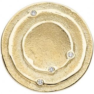 Anhänger rund 585 Gold Gelbgold matt 4 Diamanten Brillanten 0, 04ct.