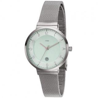 JOBO Damen Armbanduhr Quarz Analog Edelstahl matt Datum Damenuhr grün