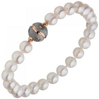 Armband Süßwasser Perlen mit 925 Silber Rotgold vergoldet weiß