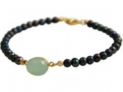 Damen Armband Vergoldet Tahiti Grau Perlen Chalcedon MeeresGrün 18 cm