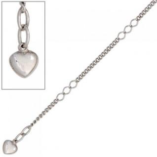 Fußkettchen Fußkette Herz 925 Sterling Silber rhodiniert 27 cm Karabiner