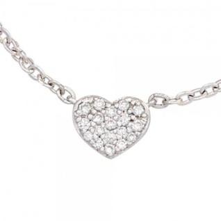 Collier Kette mit Anhänger Herz 585 Gold Weißgold 26 Diamanten 45 cm