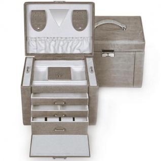 Schmuckkoffer aus grauem Leder, 3 Schubladen, 1 feststehendes Fach