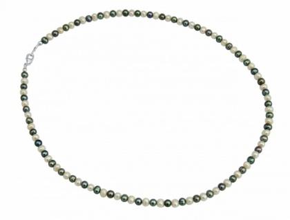 Tahiti-Perlen-Armband Grau Weiß 925 Silber 19 cm