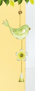GILDE nostalgischer Deko-Hänger Vogel aus Metall, gelb, grün, 55 cm