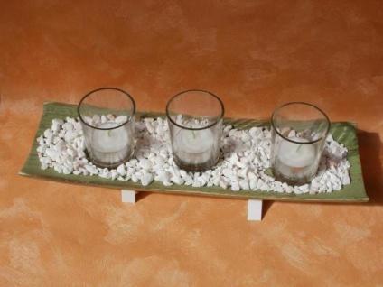 Teelichthalter-Set in Grün mit 3 Teelichtgläsern