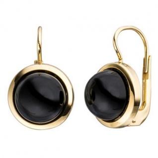 Boutons rund 333 Gold Gelbgold 2 Onyxe schwarz Ohrringe Ohrhänger
