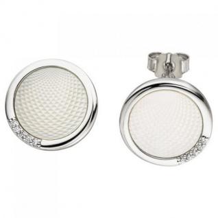 Ohrstecker 925 Sterling Silber 2 Perlmutt Einlagen 10 Zirkonia Ohrringe