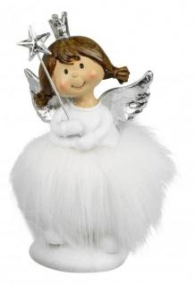 Engel mit Stern und Federn aus Kunststein Weihnachtsdekoration weiß silber 14 cm