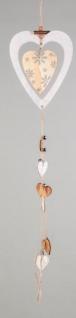 formano Dekohänger Herz aus Holz in Weiß Natur mit Blümchen, 68 cm - Vorschau