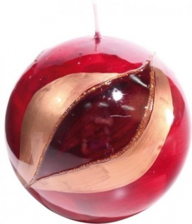 GILDE Kugelkerze in Rot mit Auge, 10 cm