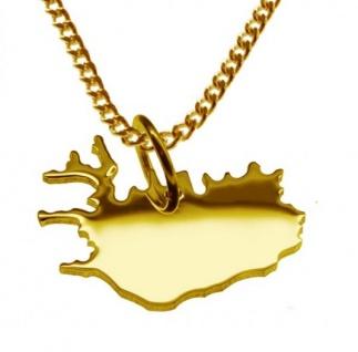 ISLAND Kettenanhänger aus massiv 585 Gelbgold mit Halskette