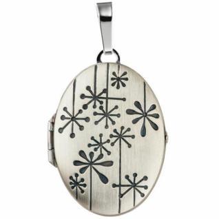 Medaillon oval für 2 Fotos 925 Silber matt zum Öffnen