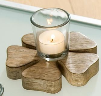 Gilde Kerzenhalter in Blümchenform mit Glas, braun, 8 x 14 cm
