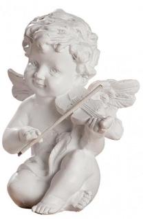 Schutz-Engel Weiss mit Violine Grabschmuck Grabdeko Grab-Engelfigur Skulptur wetterfest 9cm Gross