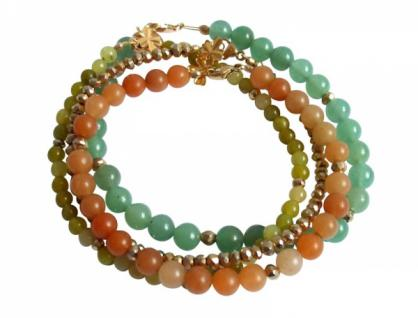 Armband Set - Golden Leaves Jade Aventurin Grün Orange Vergoldet