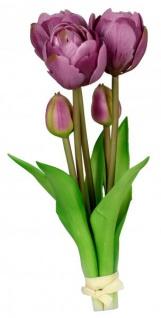 Künstliche blühende Tulpen als Bund 5 Stück grün lila 25 cm Osterblume