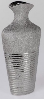 formano edle moderne Vase mit Silberstreifen aus Keramik, 40 cm