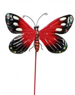 Gartendeko Gartenstecker Dekostecker Schmetterling Metallstecker rot 26 cm