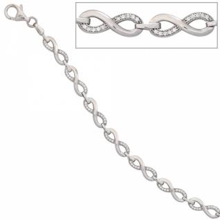 Armband 925 Sterling Silber rhodiniert mit Zirkonia 19 cm Karabiner