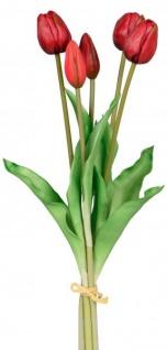 Künstliche Tulpen als Bund 5 Stück einzeln verwendbar grün rot 36 cm