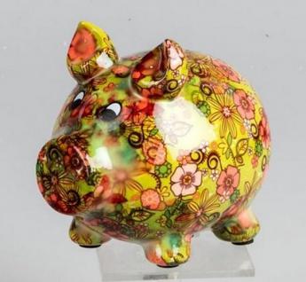 Spardose Sparschwein Flower Power in Gelb Grün aus Keramik, 11 cm