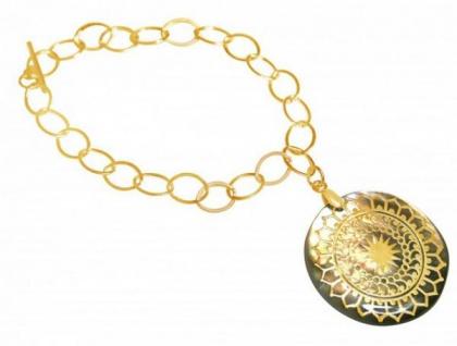 Armband Medaillon Perlmutt Vergoldet Grau 3 cm