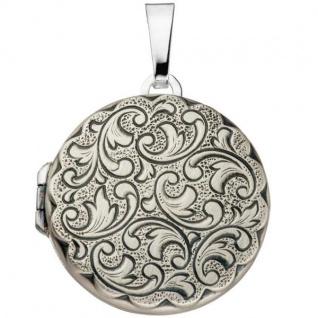 Medaillon rund für 2 Fotos 925 Sterling Silber matt zum Öffnen