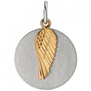 Anhänger Flügel Gravur Gravurplatte 925 Silber bicolor vergoldet