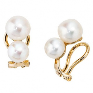 Ohrclips 585 Gold Gelbgold 4 Süßwasserperlen Perlen Ohrringe