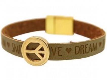 Damen Armband Frieden Peace WISHES Braun 18 cm