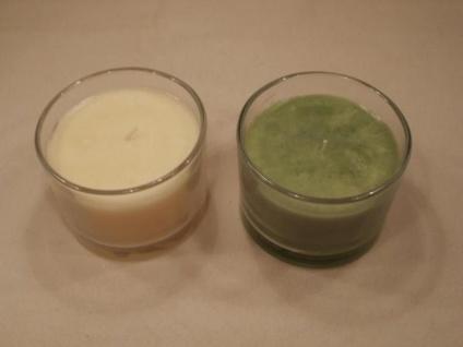 2 große runde Kerzen im Glas - 2 Farben