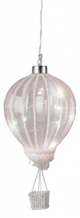 LED Heißluftballon mit Timerfunktion Batteriebetrieben 10 Ø Sommerdeko Partydeko Partylicht zum Hängen Lampions Dekolicht Ballon rosa 27cm