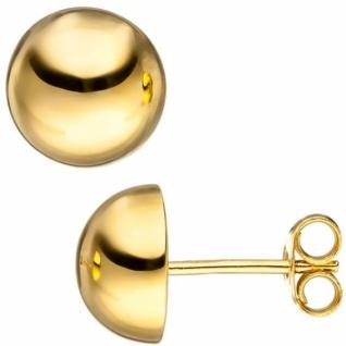 Ohrstecker Halbkugel 925 Sterling Silber Gold vergoldet 10 mm