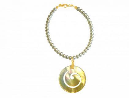 Zuchtperlen-Armband mit Perlmutt-Medaillon Vergoldet Weiß Grau