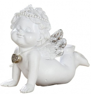 Grabschmuck Schutz-Engel Figur Klein mit silbernem Herz Antik Weiss Grabdeko Wetterfest 7cm Gross