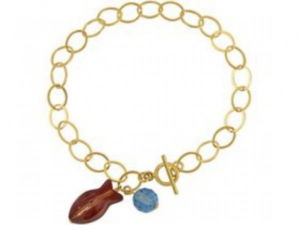 Armband Vergoldet Fisch Rot Blau MADE WITH SWAROVSKI ELEMENTS®