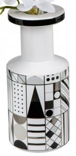 Keramik-Vase schwarz weiß gemustert Blumenvase Retro 12 x 26 cm