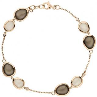 Armband 585 Rotgold 4 Diamanten Brillanten 0, 06ct. 8 Mondsteine 21 cm