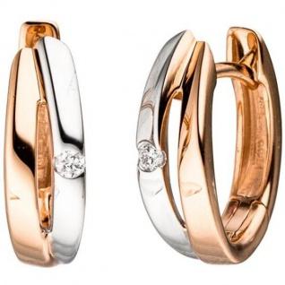 Creolen 585 Gold Rotgold bicolor 2 Diamanten Brillanten Ohrringe