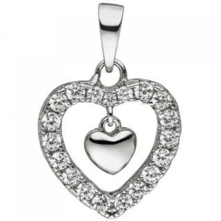 Anhänger Herz Herzen 925 Sterling Silber 19 Zirkonia Silberherz