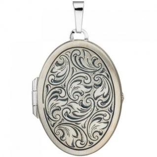 Medaillon oval für 2 Fotos 925 Sterling Silber matt zum Öffnen