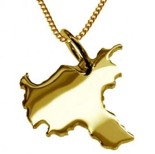 HAMBURG Kettenanhänger aus massiv 585 Gelbgold mit Halskette