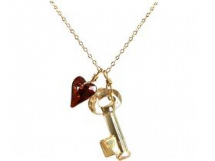 Halskette Anhänger Vergoldet Schlüssel Herz WITH SWAROVSKI ELEMENTS®