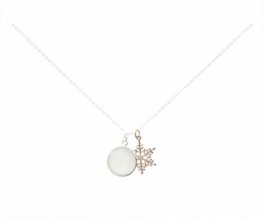 Halskette Anhänger Schneeflocke 925 Silber Chalcedon Grün